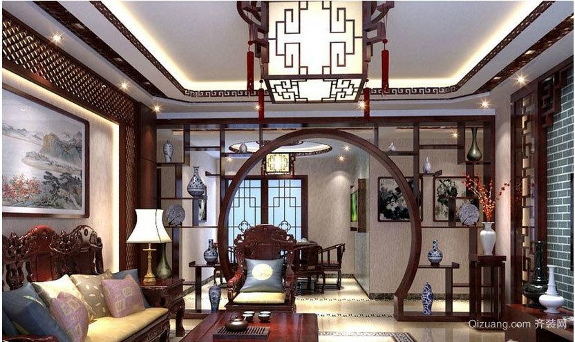 精致中式客厅吊顶装修效果图
