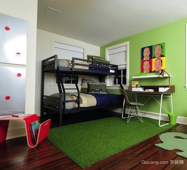 缤纷彩色的30平米儿童房高低床装修设计效果图