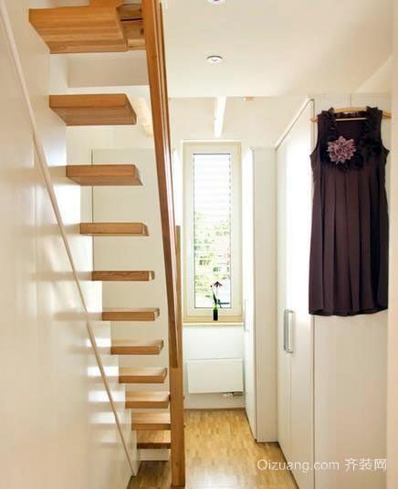 50平米阁楼实木楼梯装修效果图