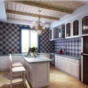 厨房蓝白墙面瓷砖欣赏