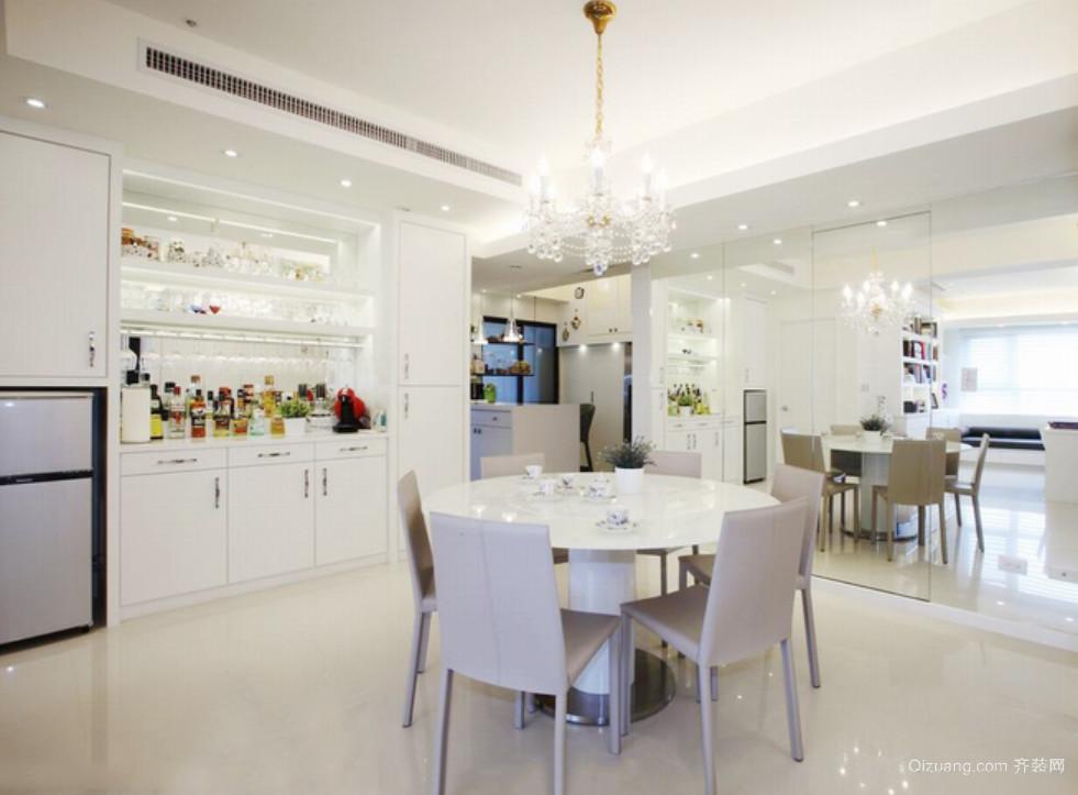 现代都市风格白色餐厅背景墙装修效果图大全