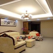 现代美式家居客厅吊顶