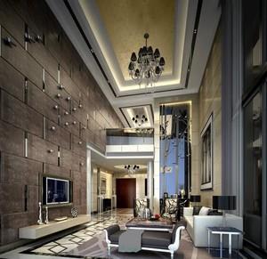 亿万富翁简欧别墅客厅墙面装饰画装修效果图