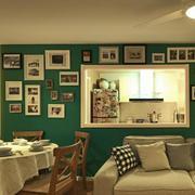 复式楼绿色照片墙