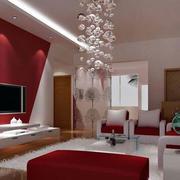 婚房客厅红色装扮