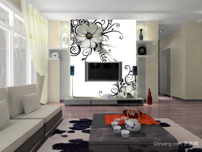 自建别墅唯美简约风格电视背景墙