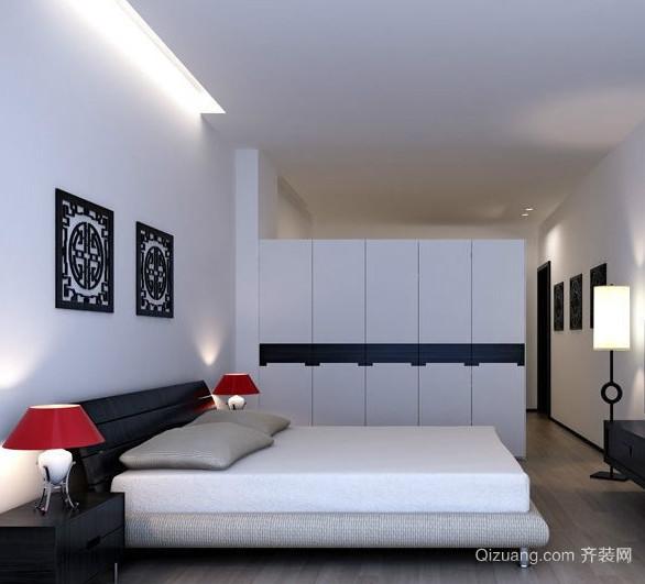 容量超大的50平米卧室衣柜装修设计效果图