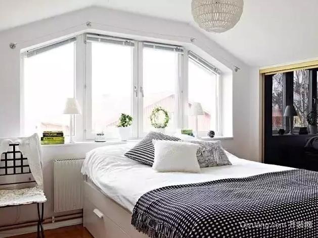 极致简约的北欧风格卧室背景墙装修效果图