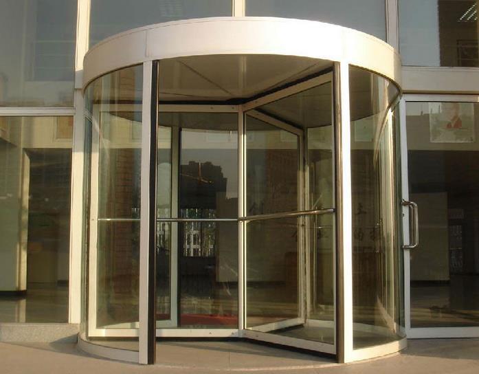 企业 办公楼 大厅手动旋转 门装修 效果图