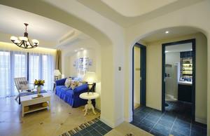 118平米经典蓝色地中海风格客厅设计装修效果图鉴赏