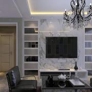 客厅中性冷色调瓷砖