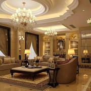 客厅圆形石膏线吊顶