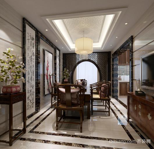 儒雅新中式风格餐厅装饰画与灯饰装修效果图