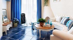 客厅蓝色地板瓷砖
