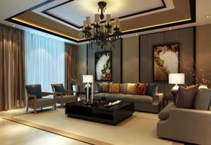 90平米东南亚新中式混搭客厅装修效果图