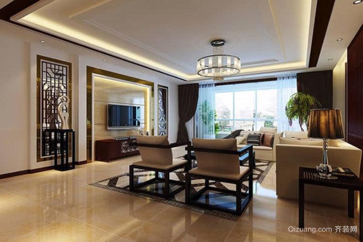 90平米别出心裁的中式客厅装修效果图