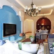 客厅蓝色海藻泥背景墙