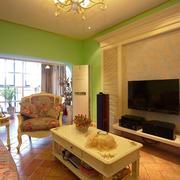 客厅素雅瓷砖背景墙