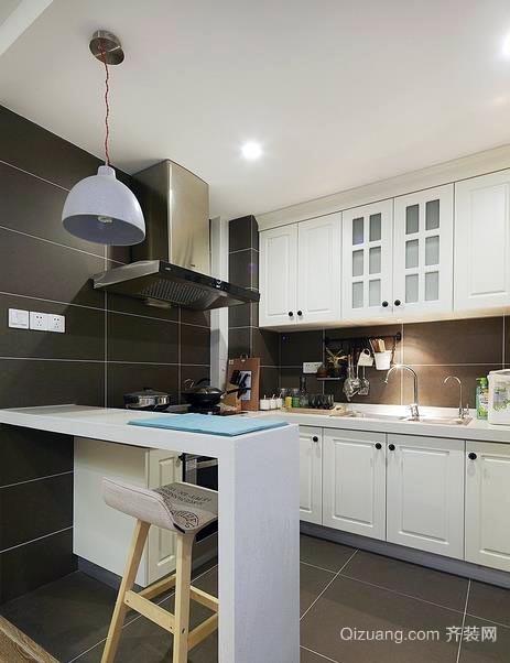 都市简单30平米开放式厨房吧台装修效果图