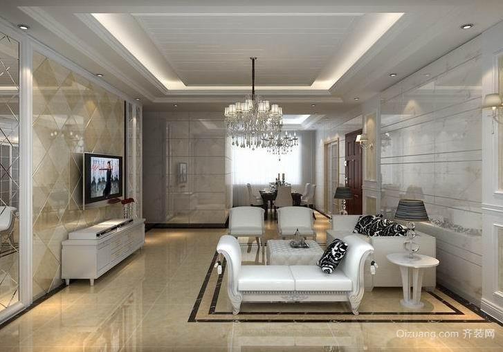 新时代家庭客厅微晶石瓷砖背景墙装修效果图