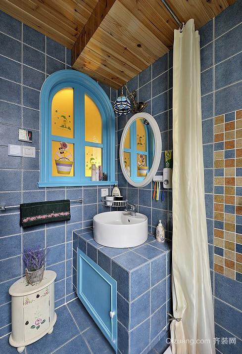 温馨质朴的地中海风格卫生间设计装修效果图欣赏