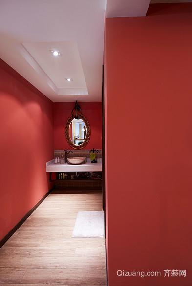 大气喜庆的红色卫生间装修效果图