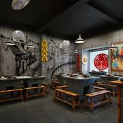 火锅店中式墙面装饰
