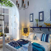 蓝色温馨的卧室