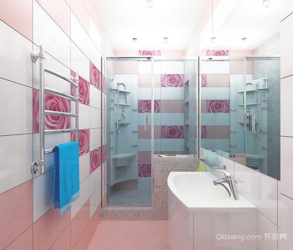 甜蜜粉色的卫生间装修效果图