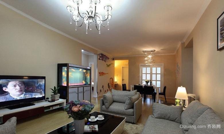 2015三室二厅美观大方的客厅鱼缸造景装修效果图