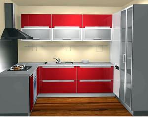 厨房橱柜红色门板