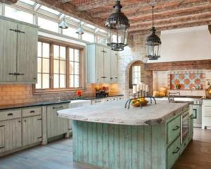 美式田园风格厨房橱柜装修设计效果图