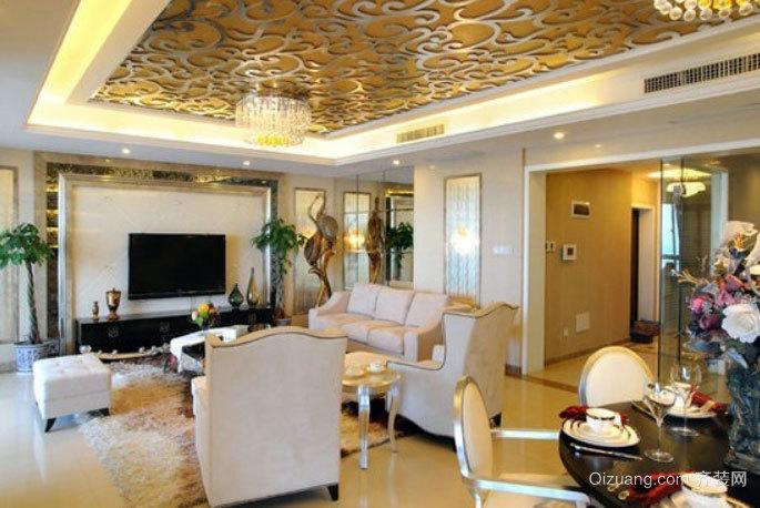 100平米豪迈稳健的新巴洛克风格客厅装修效果图