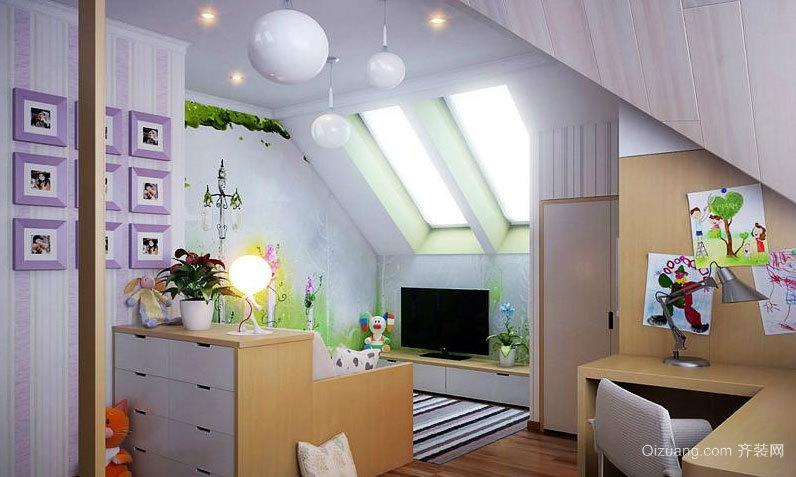90平米小阁楼可爱迷人儿童房装修效果图