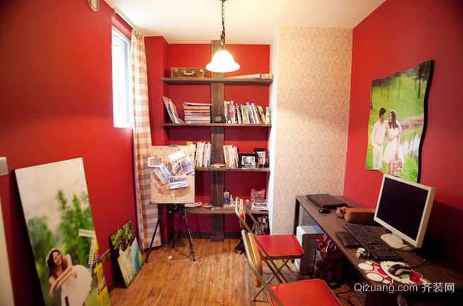 沉稳大气的红色书房装修效果图