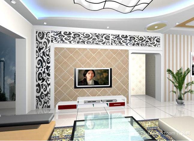 2015大户型舒适的客厅影视墙装修效果图
