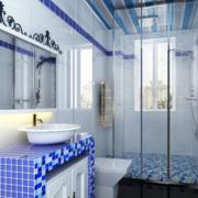 蓝色忧郁的卫生间