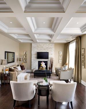 90平米三居室豪华客厅石膏线装修效果图鉴赏