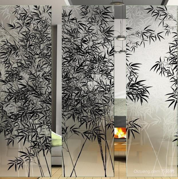 家庭艺术玻璃隔断墙装修设计效果图