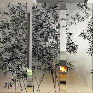竹子画玻璃隔断墙效果图