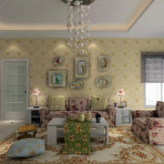 别墅客厅暖色调壁纸