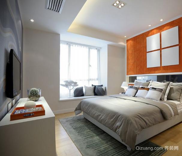 朴素简单的卧室飘窗窗帘装修设计效果图