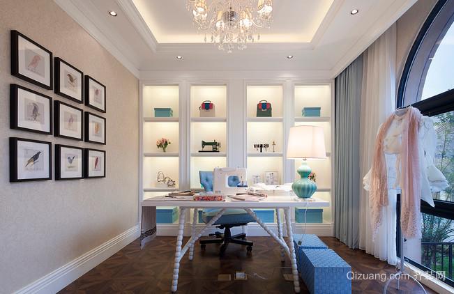蓝色优雅的书房装修效果图