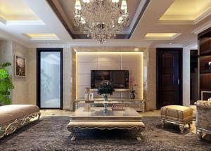 90平米浪漫简欧风格客厅电视背景墙装修效果图