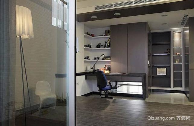 经典时尚的银灰色书房装修效果图