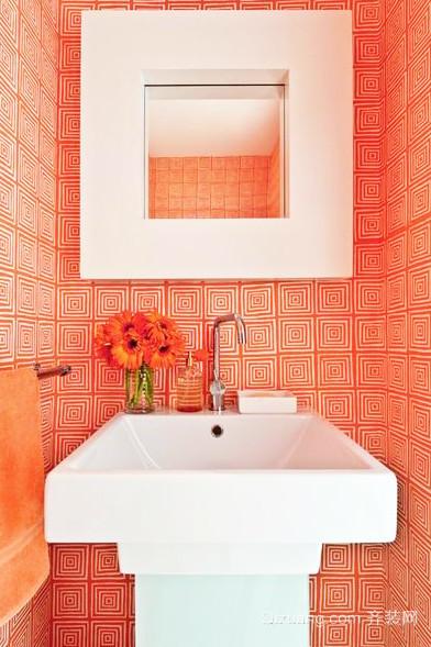 橙色不失浪漫的卫生间装修效果图