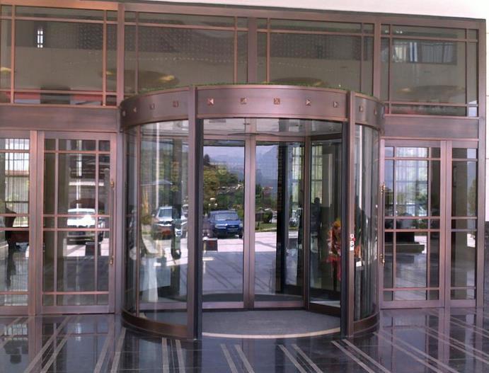企业 办公楼大厅手动旋转 门装修效果图