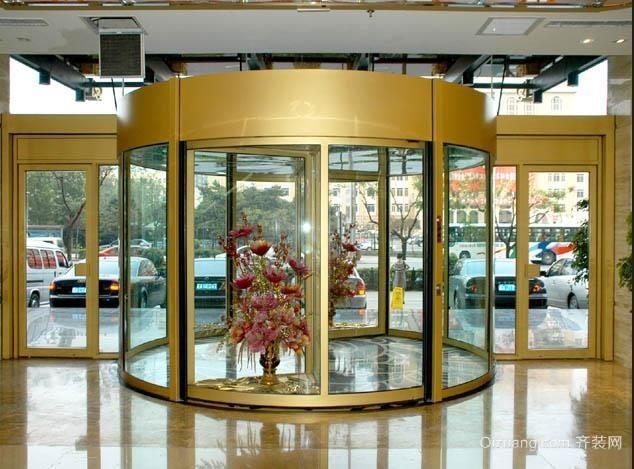 国际大酒店大厅自动两翼旋转门装修效果图