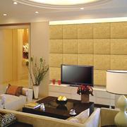 黄色瓷砖电视背景墙