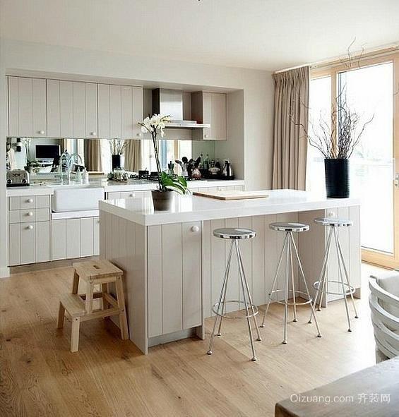 30平米混搭田园风格开放式厨房装修效果图